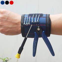 Сильный два магнитный браслет Регулируемая опора для запястья полосы для саморезы гайки Болты бурильные долото держатель инструмент