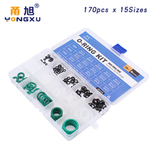 170pcs Mixed White Silicon Green FKM NBR O-Rings Rubber 15Sizes O ring Silicone Seal Gasket Ring Assortment Set Kit Box
