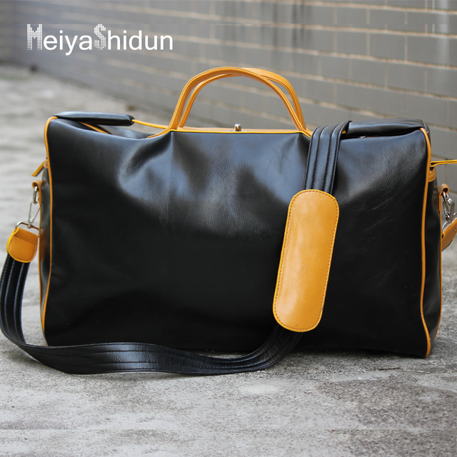 Meiyashidun Brand design Business Men leather travel duffle bag weekend  messenger bags women handbags high quality ba509ef85e1a4