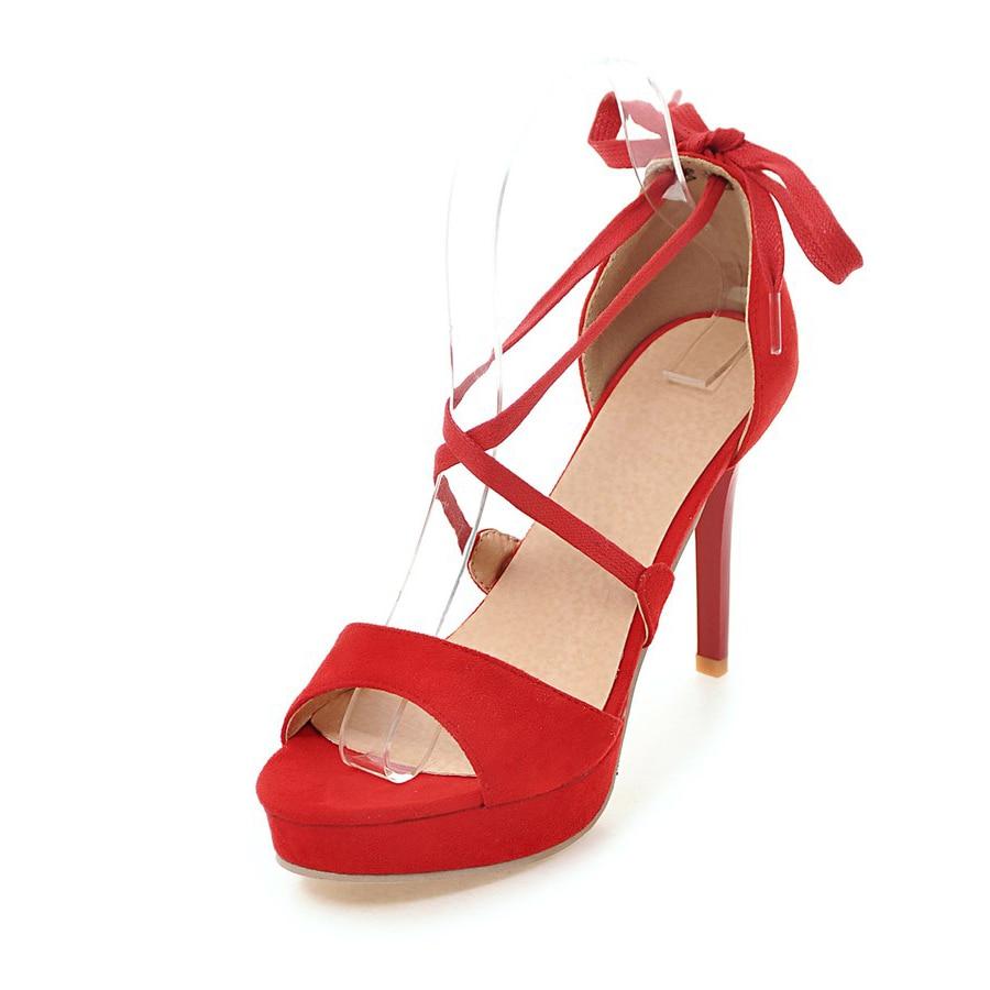 Big size 34-43 women sandal Cross-tied Ankle Strap peep toe pumps platform shoes women summer super high heels sandals pumps big size 32 43 fashion party shoes woman sexy high heels platform summer pumps ankle strap sandals women shoes