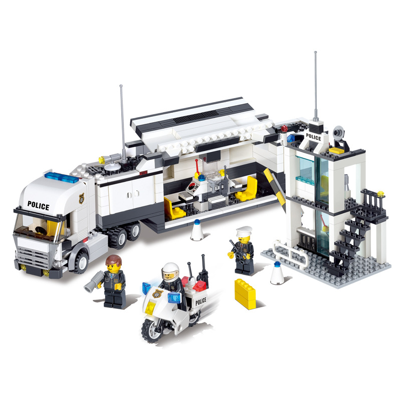 KAZI City Police Mobile Command Center Building Blocks Sets Bricks Classic Model Kids Toys DIY Gift Compatible Legoings