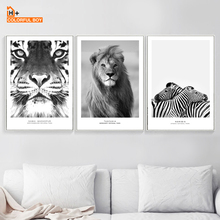 цена на Tiger Lion Zebra Wall Art Print Canvas Painting Nordic Posters And Prints Black White Animal Wall Pictures For Living Room Decor