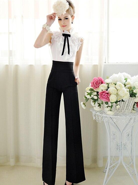 2018 Spring Elegant Ladies Trousers Fashion Women   Wide     Leg     Pants   Casual High Waist Long   Pants   Office Work Wear pantalones
