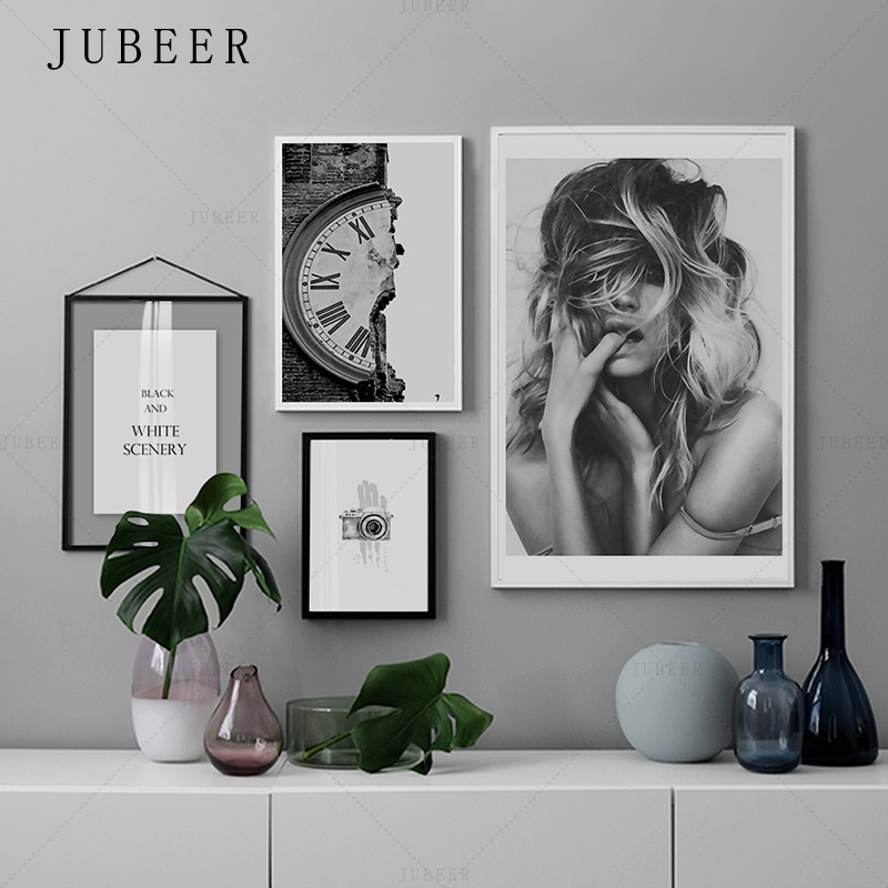 Nordic Minimalism Poster Black and White Characters Frameless Decorative Painting Lving Room Wall Art Inspirational Maxim