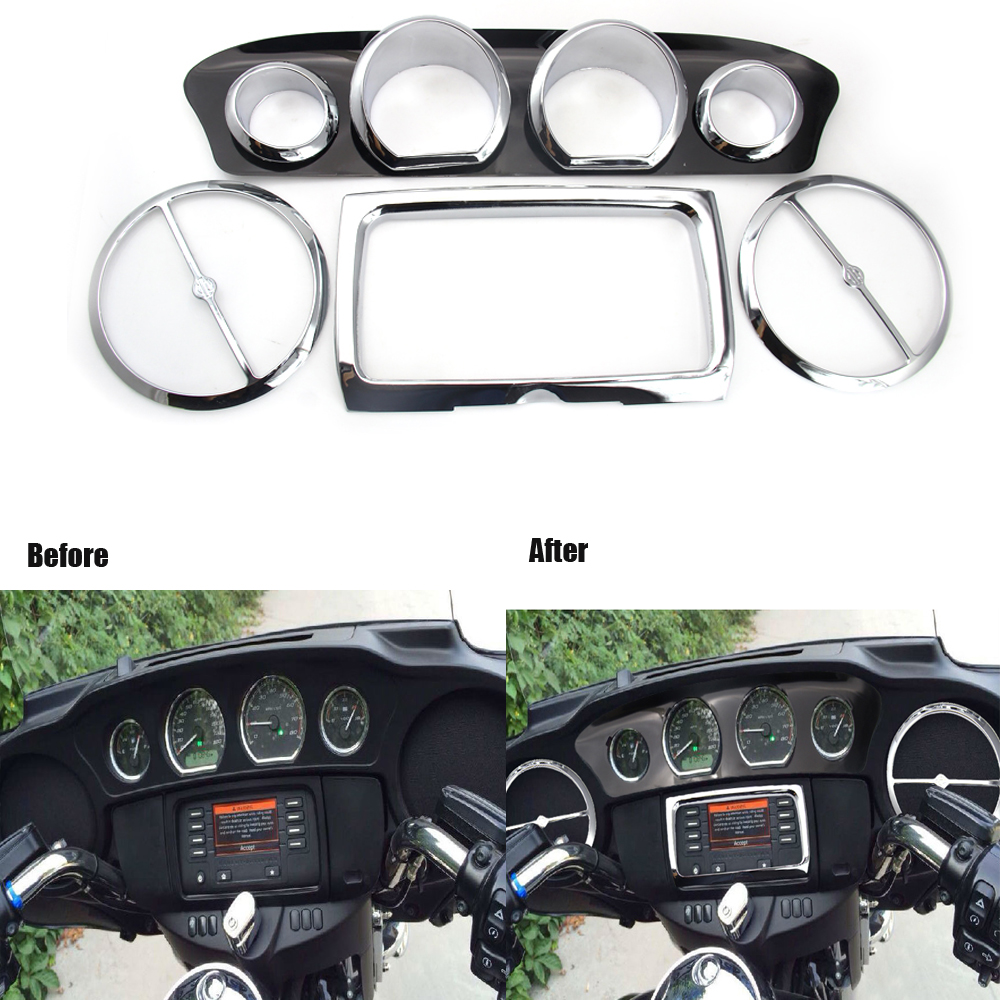 8pcs/set Chrome Motorcycle Inner Fairing Speedometer Radio Speaker Trim Ring Kit  For Harley Touring 2014-UP US SHIPPING #6799