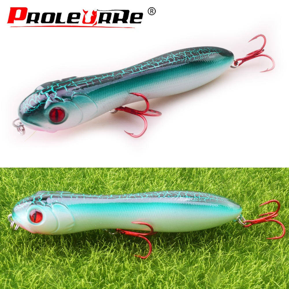 1Pcs TopWater Pencil Fishing Lure 100mm 16g Snake Head Wobblers tackle Pesca Artificial hard Bait Bass Crankbait Fishing PR-497