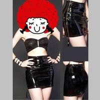 Sexy Damen Reißverschluss Side Kunstleder PVC Frauen Mini Club bleistift Rock 2017 Bodycon Partei Wetlook Outfits Partymode Kostüme XXL