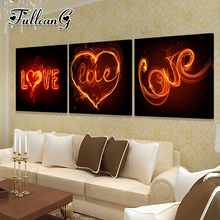 FULLCANG triptych diy love flame diamond painting mosaic cross stitch full drill 5d embroidery kits handmade hobby 3pcs G1183