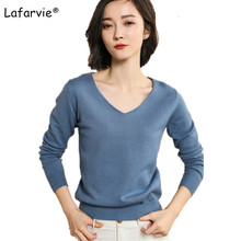 Lafarvie V-neck Knitted Sweater Women Tops Autumn Winter Casual Pullover Female Long Sleeve Solid Color Soft High Quality Jumper hamaliel high quality autumn and winter sweater long dress 2018 fashion solid long sleeve knitted v neck bodycon dress with belt