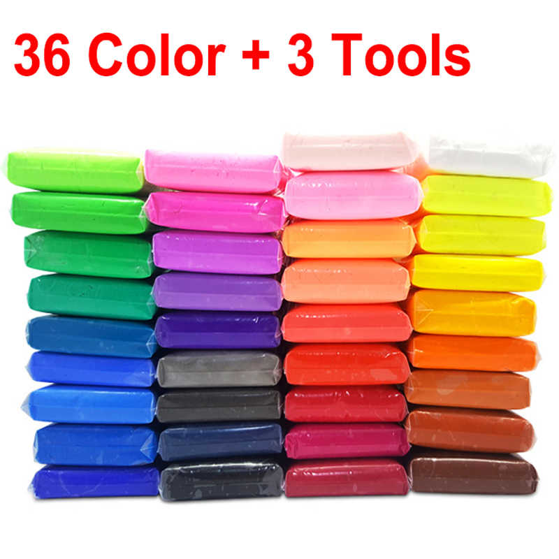 36 لون ضوء لينة الطين DIY لعب الأطفال التعليمية الهواء الجاف البوليمر البلاستيسين آمنة ضوء ملون الطين لعبة هدية للأطفال
