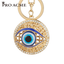 Pro Acme Personalized Metal Crystal Evil Eye Key Ring Unisex Keyring Car Keychain Women Charms HandBag Pendant llaveros PWK0383