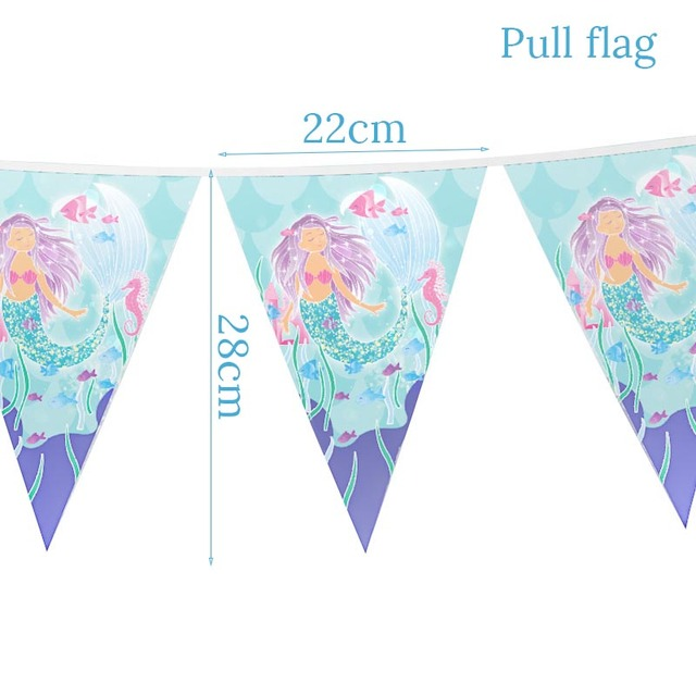 1set Banner Mermaid party plates 5c64f5cb2f273