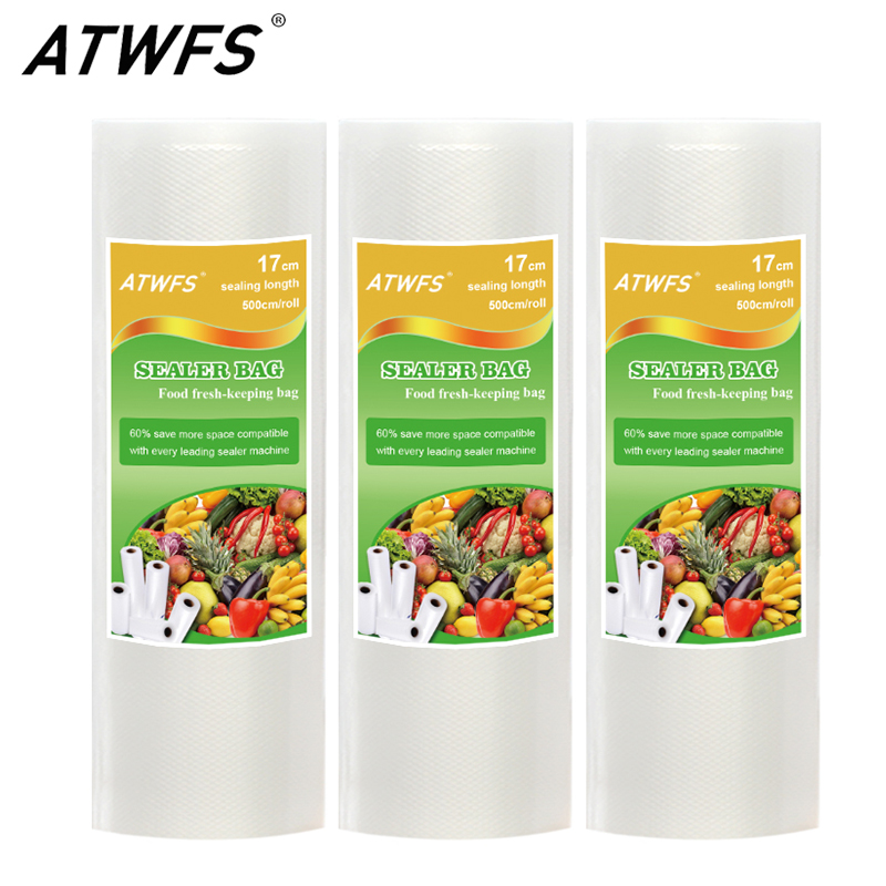 ATWFS 17CMx500CM/Rolls Vacuum Packaging Rolls Food Storage Bags Food Bag Saran Wrap garfield rolls on