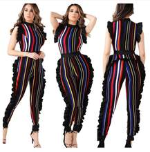 016617fc64b8 Summer Striped Jumpsuit Women Sleeveless Side Pleated Bodycon Bodysuit  Fashion Overalls Sexy Rompers Jumpsuits women for