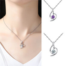 High Quality Stylish Wild Necklace Personality Women Copper Inlay Zircon Necklace Feminine Angel Crystal Necklace Jewelry L0323(China)