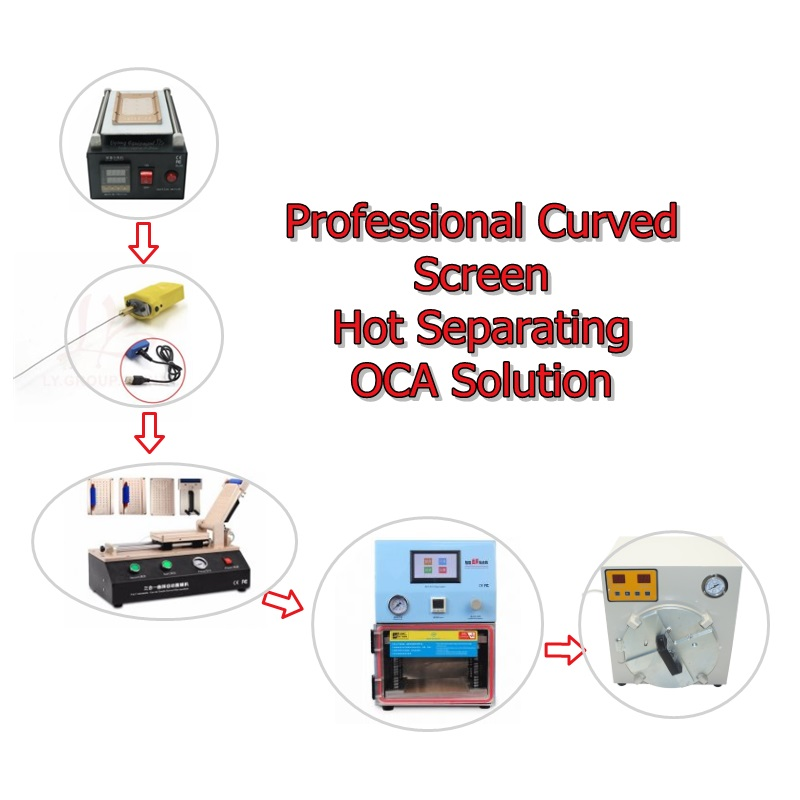 LY curved screen hot repair machine pack OCA solution 8 inch lcd separator &glue remover&laminator ly samsung screen separate pack e oca pack e oca solution e for samsung mobile screen repair specially