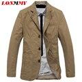LONMMY M-4XL Куртка мужчины пиджак Хлопок Костюмы для мужчин пиджак куртка мужчины jaqueta Три кнопки Бренд-одежда Повседневная 2016 новый