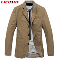 LONMMY M-4XL Jacket men blazer Cotton Suits for men blazer jacket men jaqueta Three button Brand-clothing Casual 2016 New
