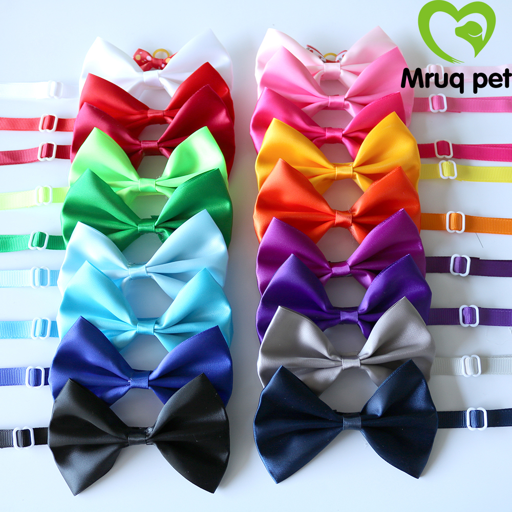 50X Handmade Pet Puppy Dog Cat Bow Ties Adjustable Solid Bowknot Dog Bowties Pet Grooming Ties Dog Accessories Pet Supplies