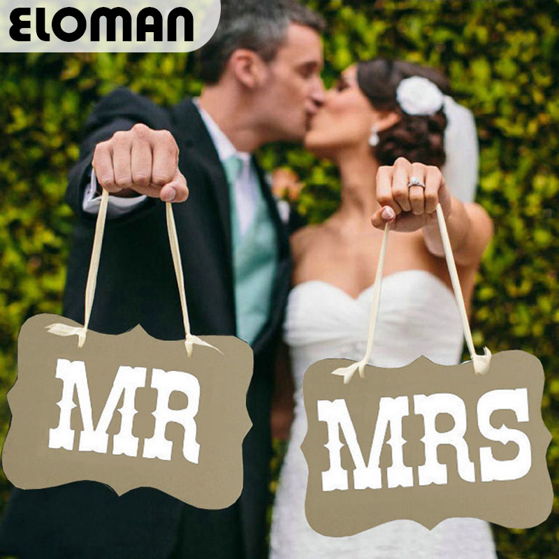 ELOMAN MR&MRS Wedding decorations chair signs for wedding party photo booth supplies
