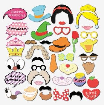 Cabina de fotos Blanca Nieves de 38 piezas, Accesorios, gafas, bigote labios,...