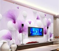 3d wallpaper for room Purple flowers Romantic lily transparent ball 3D background wall mural 3d wallpaper