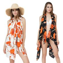 Women Summer Sleeveless Vest Style Scarf Boho Orange Floral Printed Wrap Skirt Swimsuit Cover Up Asymmetric Hem Sarong Cape Kimo pearl beading asymmetric hem cape blazer
