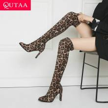 QUTAA 2020 Nieuwe Vierkante Hoge Hak Schoenen Stretch Suède Vrouwen Laarzen Mode Luipaard Slip on Over De Knie Vrouw Laarzen maat 34-43(China)