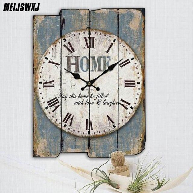 Meijswxj Wooden Wall Clock Saat Relogio De Parede Living Room Decorated Clock Retro Creative Home Decoration Watch 30cm*40cm