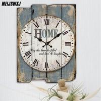 Meijswxj Wooden Wall Clock Saat Relogio De Parede Living Room Decorated Clock Retro Creative Home Decoration Watch Timing Tool