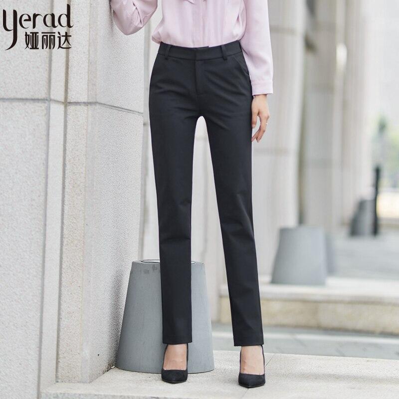 YERAD Autumn New Women's Elegant Suit Pants Office Lady Pants Female Plus Size Straight Trousers Formal Business Pants