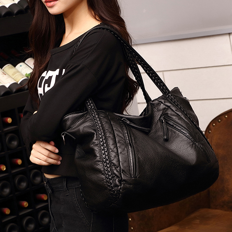 2017 spring women s messenger bag fashion handbag water wash soft leather sheepskin handbag large bag