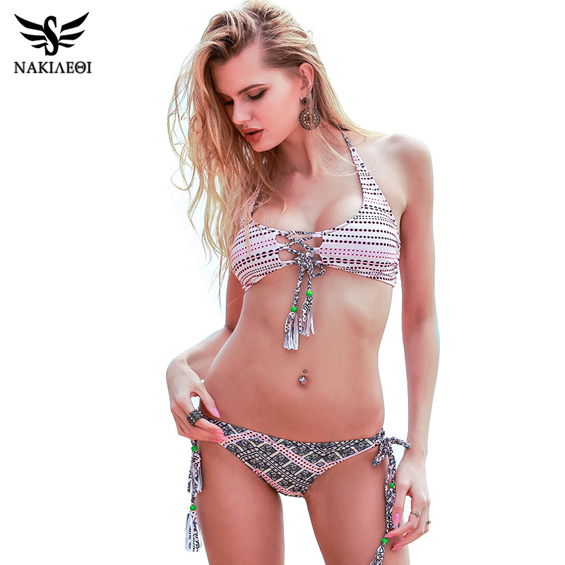 NAKIAEOI Sexy Handmade Crochet Bikini 2018 Summer Beachwear Brazilian Bikini Set Swimwear Women Swimsuit Bathing Suit Swim XL