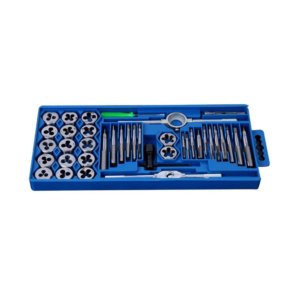 40Pcs Metric Tap Wrench Die Pro Set Kit M3-M12 Nut Bolt Alloy Metal Hand Tools Set 20pcs m3 m12 screw thread metric plugs taps tap wrench die wrench set