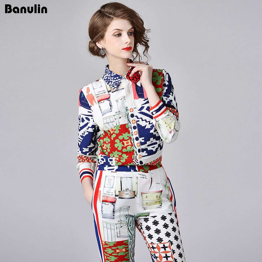 Banulin New Fashion Designer Runway Suit Set 2018 Autumn Women's Long Sleeve Floral Printed Blouses Vintage Pants 2 Piece Set