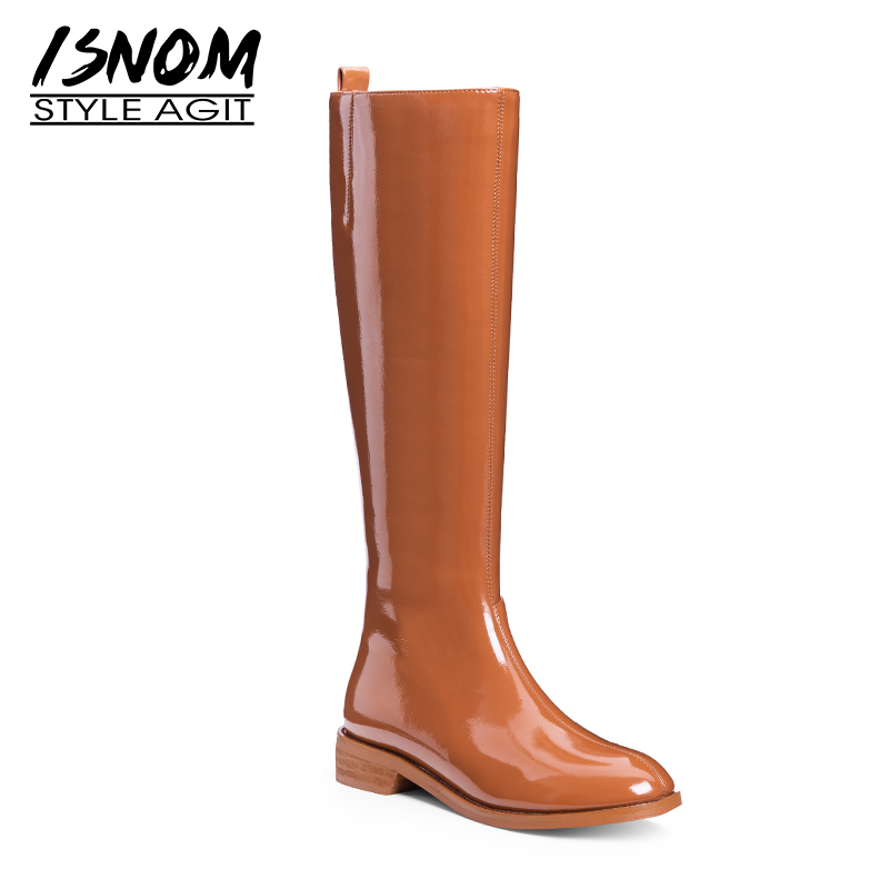 ISNOM Patent Leather Women Rain Boots Round Toe Footwear Knee High Female Boot Zip Fashion Thick Heels Shoes Woman 2019 Spring