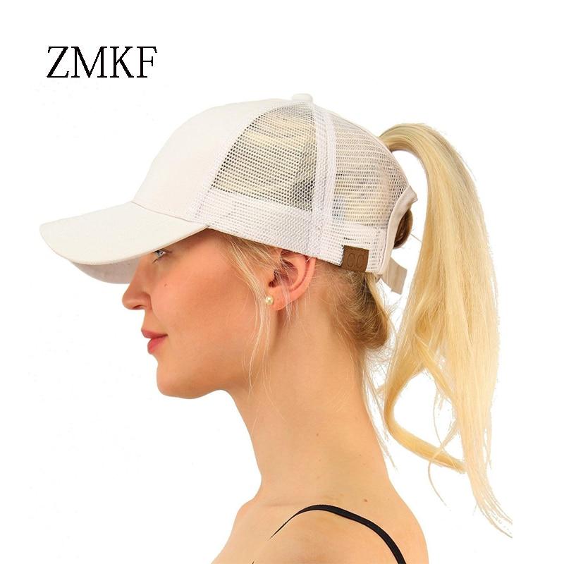 2018 ZMKF Nueva CC Ponytail Gorra de béisbol de algodón Snapback - Accesorios para la ropa