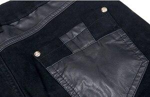 Image 5 - Estilo coreano legal calças do punk dos homens da forma com zíperes de couro preto cor apertado skenny mais tamanho 33 34 36 calças de rocha