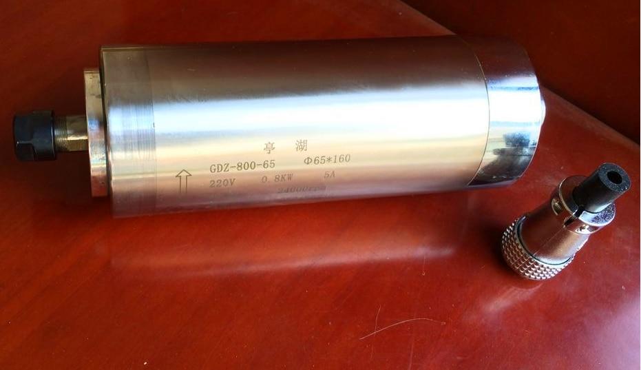 800w water cooled spindle motor ER11 220VAC wood working 0.8kw spindle motor cnc milling Water cooling 65x195mm 4 Bearings