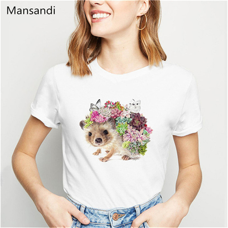 Hedgehog Butterflies Succulents Art Animalprint Funny T Shirts Women Kawaii Clothes Summer White T Shirt Camiseta Mujer Tops