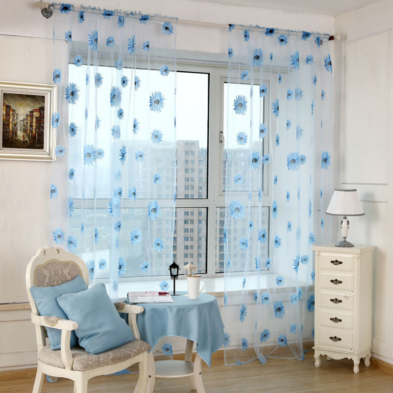 1 PC New Chic Room Floral Tulle Curtain Fresh Floral Print Tulle Voile Door Window Rom Curtain Drape Panel Sheer Scarf Valances