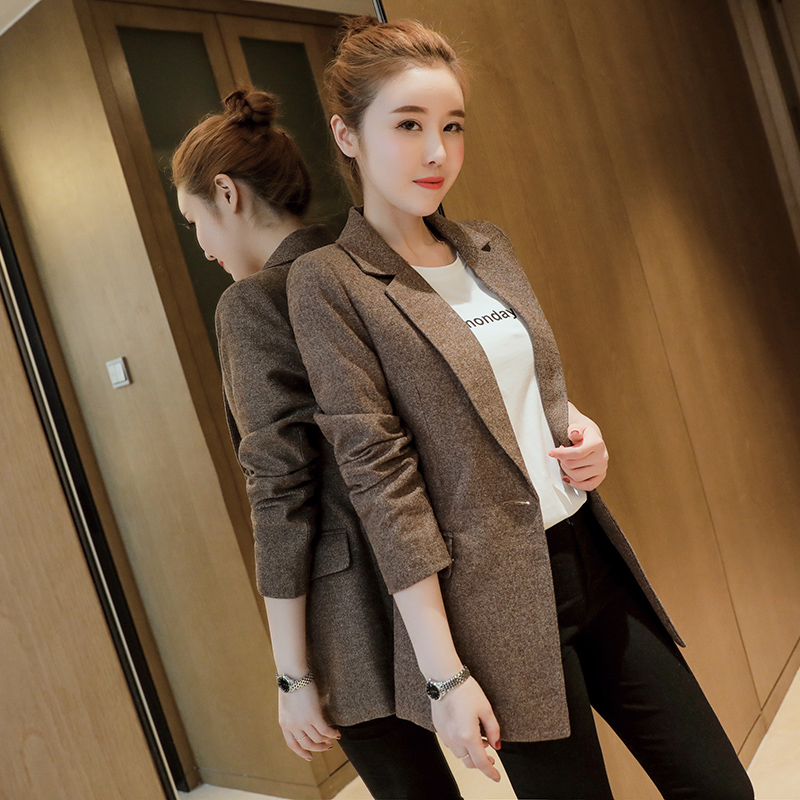 fc60ccf6000 high quality Women's Casual Suit ol Office Solid Slim Fit Blazer Women  Notched Formal Work Jacket Design Black gray Blazer-in Blazers from Women's  Clothing