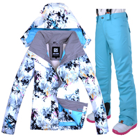 2018 Winter Skiing Suit For Women Gsou Snow Women's Waterproof Snow Jacket + Pants Suits Thicken Ski Snow Snowboard Sets