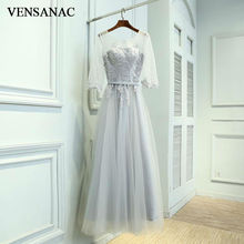 VENSANAC New A Line 2017 Embroidery O Neck Long Evening Dresses Three Quarter Sleeve Elegant Lace Party Prom Gowns