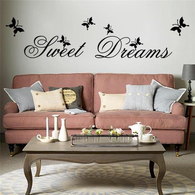 black sweet dreams quotes wall stickers for bedroom home decoration