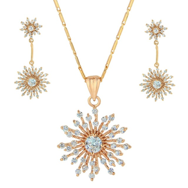 BELLA Fashion Cubic Zircon Snowflake Bridal Necklace Earrings Set