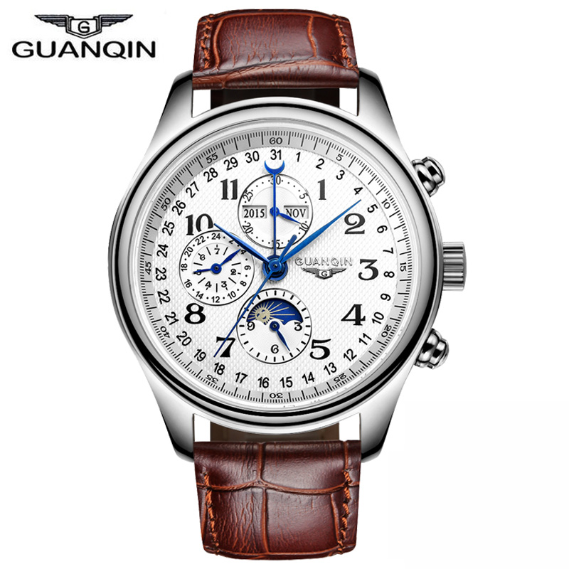 GUANQIN Men's Full steel Automatic Mechanical Watches Men Luxury Fashion Casual Sports Perpetual Calendar waterproof Wristwatch