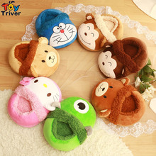 2016 New Creative Home Furnishing  Fashion cartoon plush toy feet foot warmer Computer office slippers gift monkey brown bear