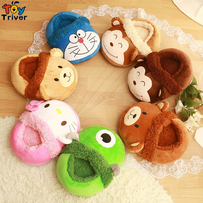 Triver Toy Creative Home Furnishing  Fashion cartoon plush toy feet foot warmer Computer office slippers gift monkey brown bear soft plush big feet pattern winter slippers