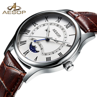 AESOP Fashion Men Watch Men Sapphire Crystal Quartz Wrist Wristwatch Moon Phase Leather Male Clock Relogio